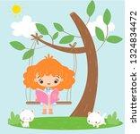cute girl reading book for...   Shutterstock .eps vector #1324834472