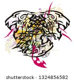 three headed tiger with... | Shutterstock .eps vector #1324856582