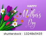 happy mothers day poster. 3d... | Shutterstock .eps vector #1324865435