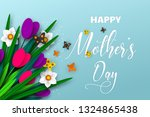 happy mothers day poster. 3d... | Shutterstock .eps vector #1324865438