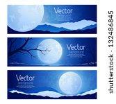 landscape full moon in the sky | Shutterstock .eps vector #132486845