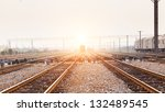 railway in fog on station ... | Shutterstock . vector #132489545