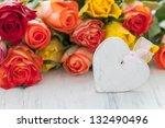 roses and heart on white - stock photo