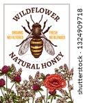 vector sketch honey poster or... | Shutterstock .eps vector #1324909718