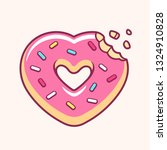 heart shaped donut with missing ... | Shutterstock .eps vector #1324910828
