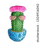 cute cactus. watercolor hand... | Shutterstock . vector #1324916042