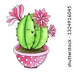 cute cactus. watercolor hand... | Shutterstock . vector #1324916045