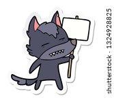 sticker of a cartoon wolf with... | Shutterstock .eps vector #1324928825