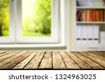 wooden table of free space and... | Shutterstock . vector #1324963025