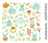 set of easter design elements.... | Shutterstock .eps vector #1324973342