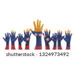 venezuela flag on people s... | Shutterstock . vector #1324973492