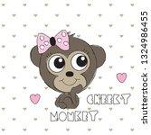 cute monkey baby girl on polka... | Shutterstock .eps vector #1324986455