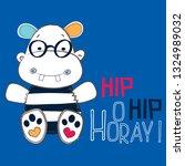 cute hippo cartoon vector...   Shutterstock .eps vector #1324989032