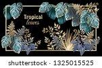 template banner dark leaves of...   Shutterstock .eps vector #1325015525