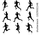 set of silhouettes. runners on... | Shutterstock . vector #1325032148