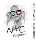 nyc girlfriend slogan with b w... | Shutterstock .eps vector #1325064818