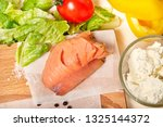 salmon with cottage cheese aand ... | Shutterstock . vector #1325144372