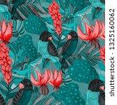 tropical birds seamless pattern.... | Shutterstock . vector #1325160062