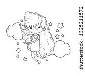 cute little girl with clouds... | Shutterstock .eps vector #1325211572