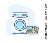 washing machine with laundry... | Shutterstock .eps vector #1325246525