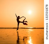 Silhouette Of Dancing Woman On...