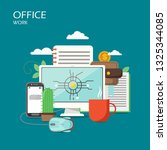 office work vector flat style... | Shutterstock .eps vector #1325344085