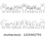 small dogs line art border set | Shutterstock .eps vector #1325402792