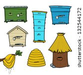 honeybee hives and beehive on... | Shutterstock .eps vector #132544172