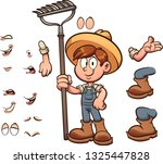 cartoon farmer boy with... | Shutterstock .eps vector #1325447828