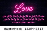 neon handwritten font with... | Shutterstock .eps vector #1325448515
