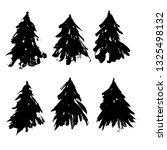 set of fir tree silhouettes.... | Shutterstock .eps vector #1325498132