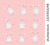 set of cute easter rabbits with ... | Shutterstock . vector #1325503298