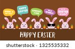 easter bunnies with greeting... | Shutterstock .eps vector #1325535332