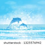 vector  blue sea  and jumping... | Shutterstock .eps vector #1325576942