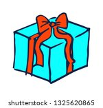 present with red bow  hand... | Shutterstock . vector #1325620865