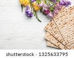 flat lay composition of matzo... | Shutterstock . vector #1325633795