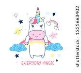 hand drawing sweet unicorn... | Shutterstock .eps vector #1325663402