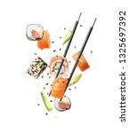 tasty sushi rolls  avocado and... | Shutterstock . vector #1325697392