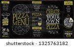pizza menu list chalkboard set  ... | Shutterstock .eps vector #1325763182