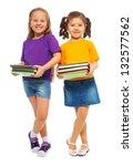 two happy little girls asian... | Shutterstock . vector #132577562
