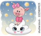 cute cartoon pig is sitting a... | Shutterstock .eps vector #1325809925
