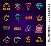 casino neon icons. vector... | Shutterstock .eps vector #1325820635