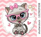 Stock vector cute cartoon siamese kitten girl in pink eyeglasses with a bow 1325829338
