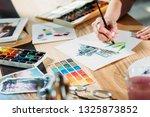 artist workplace. watercolor... | Shutterstock . vector #1325873852