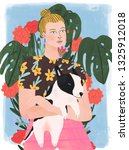 Stock photo beautiful stylish blonde woman with bull terrier puppy flowers on background hand drawn colorful 1325912018