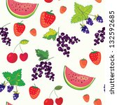 fruits and berry funny seamless ... | Shutterstock .eps vector #132592685