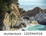 clear blue water mcway falls rock cliffs beach shore big sur california pacific ocean