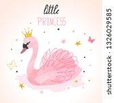 Princess Swan Watercolor Vecto...