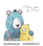 father's day watercolor cute... | Shutterstock . vector #1326040112
