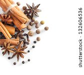 various spices on a white... | Shutterstock . vector #132606536